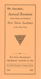 Thumbnail of Program for the sixty-third annual reunion for New Salem Academy