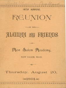 Thumbnail of Program for the eighteenth annual reunion for New Salem Academy