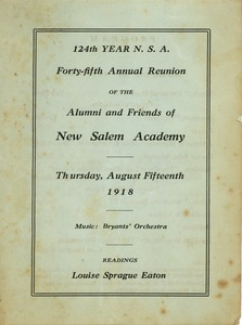 Thumbnail of Program for the forty-fifth annual reunion New Salem Academy