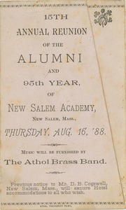Thumbnail of Program for the fifteenth annual reunion of New Salem Academy