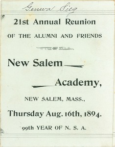 Thumbnail of Program for the twenty-first annual reunion of New Salem Academy