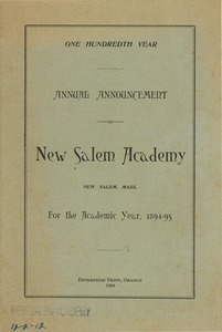 Thumbnail of The hundredth annual announcement for New Salem Academy