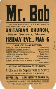 Thumbnail of Flier for 'Mr. Bob', a play done by the senior class of New Salem High School