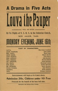 Thumbnail of Flier for 'Louva the Pauper', a play done by the students of New Salem High School