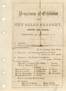 Thumbnail of Program for an exhibition at New Salem Academy