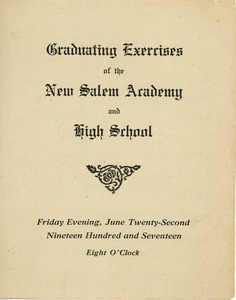 Thumbnail of Program for the 1917 graduation exercises for New Salem Academy and High School