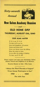 Thumbnail of Program for the sixty-seventh annual New Salem Academy reunion and old home day