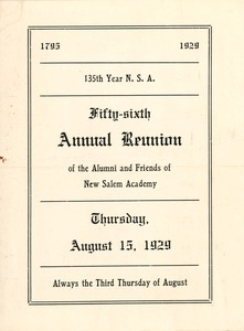 Thumbnail of Program for the fifty-sixth annual New Salem Academy reunion
