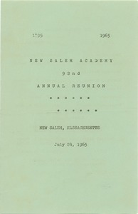 Thumbnail of Program for the ninety-second annual New Salem Academy reunion