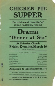 Thumbnail of Flier for the chicken pie supper event to support New Salem Academy