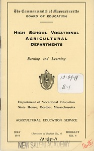 Thumbnail of Booklet by the Commonwealth of Massachusetts board of education for high school vocational  agricultural departments