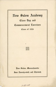 Thumbnail of Program for the 1926 New Salem Academy class day and commencement exercises