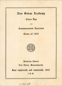 Thumbnail of Program for the 1925 New Salem Academy class day and commencement exercises