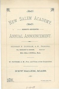 Thumbnail of Ninety-Seventh Annual Announcement for New Salem Academy