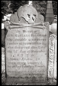 Thumbnail of Gravestone of Elizabeth Hurd (1779), Granary Burying Ground