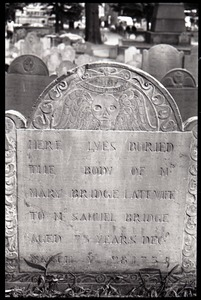 Thumbnail of Gravestone of Mary Bridge (1735), Granary Burying Ground