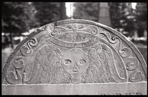 Thumbnail of Gravestone of Mary Bridge (1735), Granary Burying Ground: close-up of head of winged             skull