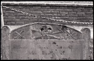 Thumbnail of Close-up of skull and crossbones on unidentified gravestone, Granary Burying Ground