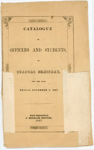 Thumbnail of Catalogue of officers and students of Quaboag Seminary, for the year ending             November 9, 1847