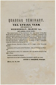 Thumbnail of Quaboag Seminary: The spring term will commence on Wednesday, March 1st, and continue eleven weeks