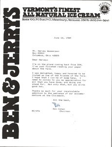 Thumbnail of Letter from Ben Cohen to Harvey Wasserman