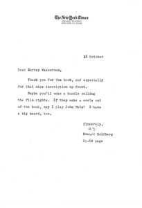 Thumbnail of Letter from New York Times Company to Harvey Wasserman