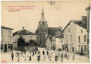 Thumbnail of Place Notre Dame et Eglise St. Pierre Children gathered on the plaza in front of the church