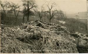 Thumbnail of Gun position of Huns, Gourcelles German gun emplacement overlooking a valley, covered with camouflage netting