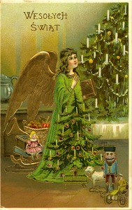 Thumbnail of Postcard from unidentified correspondent to Weronika Rusin On postcard  'Wesolych Swiat' [Merry Christmas] showing angel, putti, and             Christmas tree