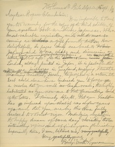 Thumbnail of Letter from Benjamin Smith Lyman to Basil Hall Chamberlain