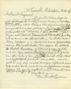 Thumbnail of Letter from Benjamin Smith Lyman to Rossiter W. Raymond
