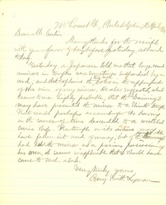 Thumbnail of Letter from Benjamin Smith Lyman to Stewart Culin