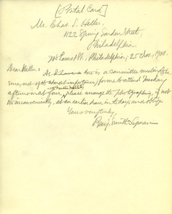 Thumbnail of Letter from Benjamin Smith Lyman to Charles S. Heller