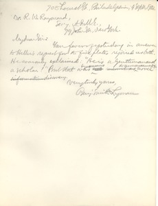Thumbnail of Letter from Benjamin Smith Lyman to Dr. R. W. Raymond