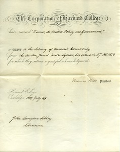 Thumbnail of Letter from Thomas Hill to James Fowler Lyman