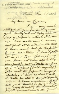 Thumbnail of Letter from E. R. Hoar to Benjamin Smith Lyman