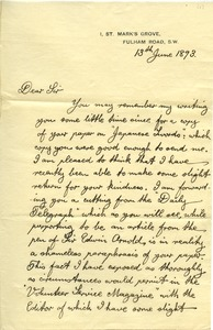 Thumbnail of Letter from W. London to Benjamin Smith Lyman