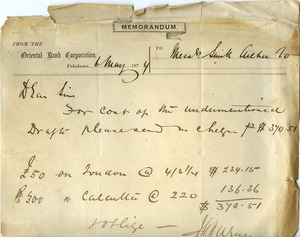 Thumbnail of Oriental Bank Corporation memo to Smith, Archer and Company