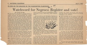 Thumbnail of Watchword for Negroes register and vote