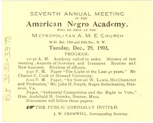 Thumbnail of The  Seventh Annual Meeting of the American Negro Academy