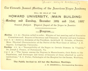 Thumbnail of The  Eleventh Annual Meeting of the American Negro Academy
