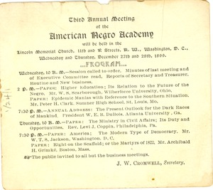 Thumbnail of The  Third Annual Meeting of the American Negro Academy