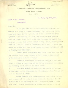 Thumbnail of Letter from the Americo-Liberian Industrial Co. to W. E. B. Du Bois