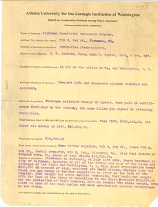 Thumbnail of Questionnaire to Richmond Beneficial Insurance Company from Atlanta University for the Carnegie Institution