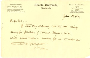 Thumbnail of Letter from Atlanta University to W. E. B. Du Bois