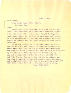 Thumbnail of Letter from W. E. B. Du Bois to T. N. Baker