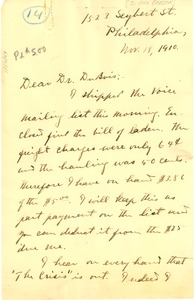 Thumbnail of Letter from J. Max Barber to W. E. B. Du Bois