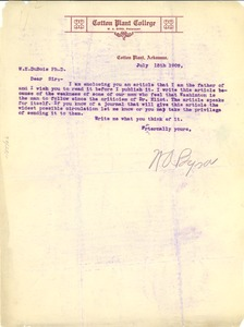 Thumbnail of Letter from William A. Byrd to W. E. B. Du Bois
