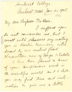 Thumbnail of Letter from James W. Crook to W. E. B. Du Bois