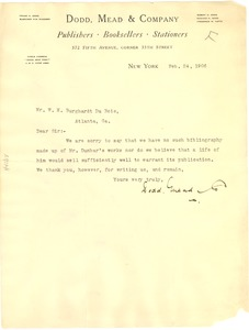 Thumbnail of Letter from Dodd, Mead & Company to W. E. B. Du Bois
